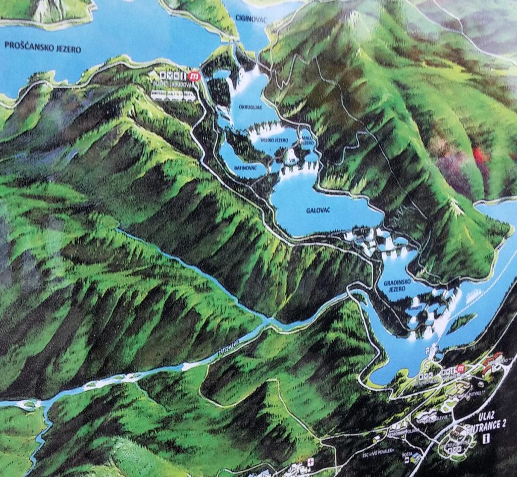 Mapa areálu Plitvických jezer 1