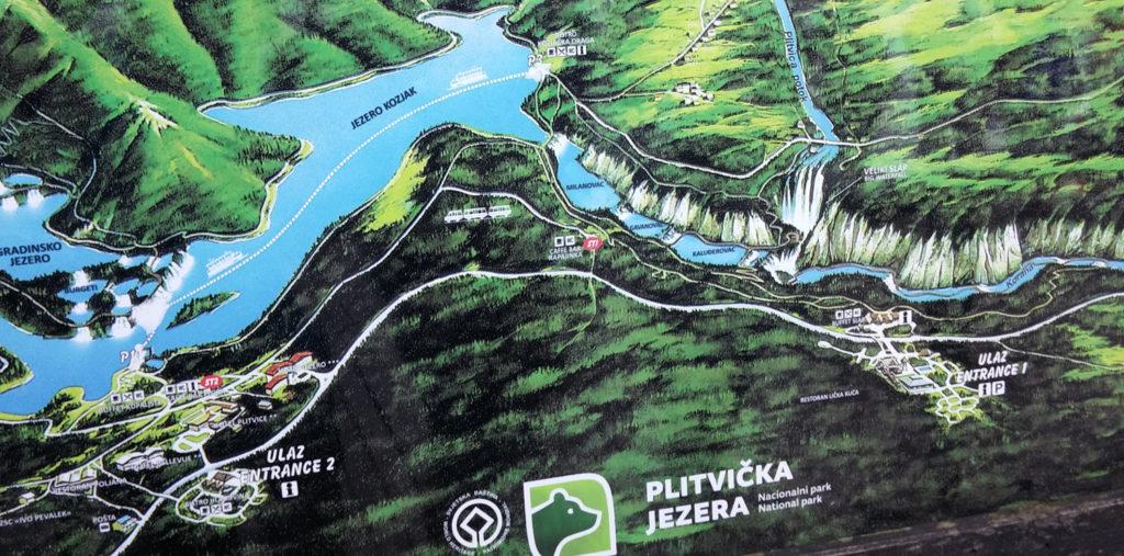 Mapa Plitvických jezer