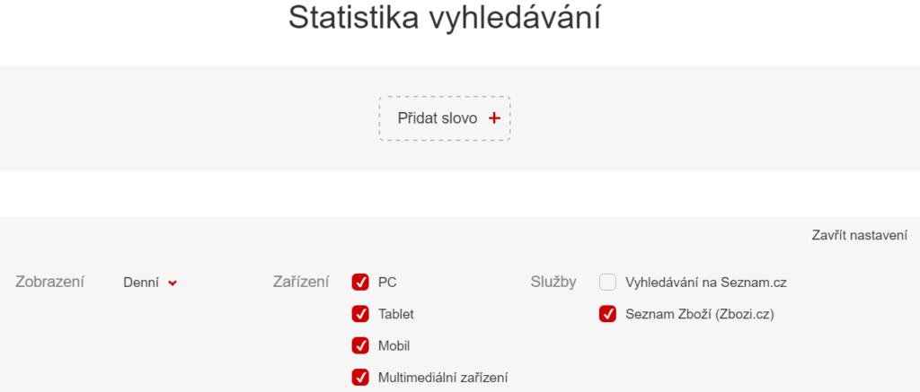 Statistiky Zboží.cz filtr